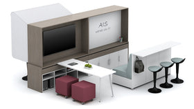 AIS Calibrate Multi-Function Hutch with Whiteboard & Sliding Worktop