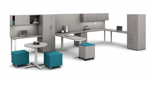 AIS Calibrate Shared Office with Cabinet Storage, Guest Table & L-Desk