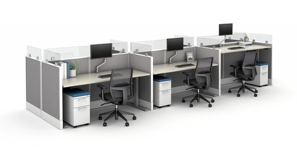 AIS Divi Cubicles: 6 Semi-Open Workstation Typical with Height Adjustable Tables