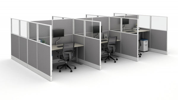 AIS Divi Cubicles: 6 Workstation / Call-Center Typical with Solid Dividers and Height Adjustable Tables