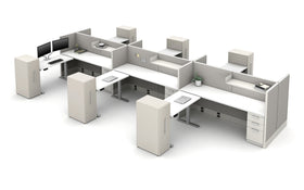 AIS Divi Open-Plan Workstations: 6 Workstation Typical with Height Adjustable Tables and Storage