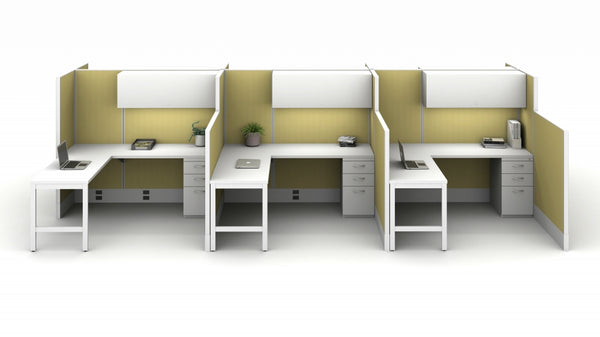 AIS Divi Space Efficient Workstations: 6 Workstation Open-Plan Typical with L-Desks