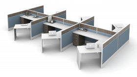 AIS Divi 120º Workstations: 6 Workstation Typical with 120º Worksurfaces and Storage