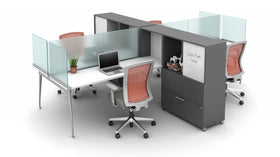 AIS Oxygen 4 Workstations with Mounted Glass Dividers and Lateral Storage