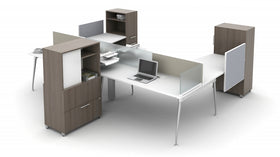 AIS Oxygen 4-Person Open-Plan Workstation Typical with Mounted Glass Dividers and Storage Cabinet