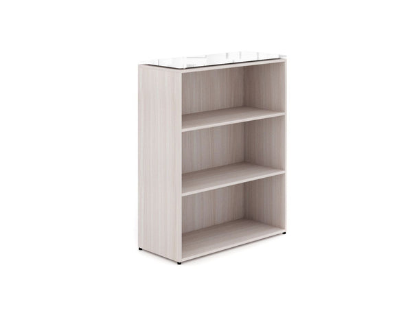 Corp Design Short Bookcase with Floated Glass Top