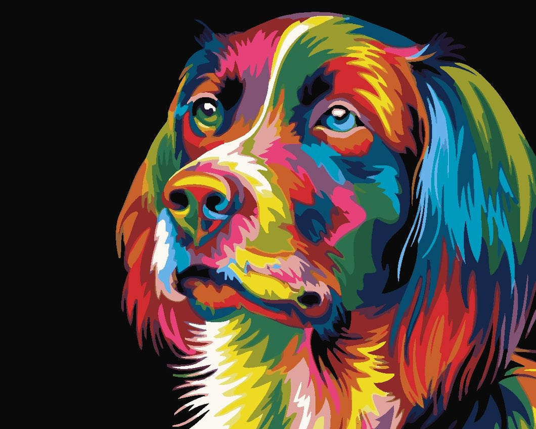 DIY Paint by Numbers - Colorful Abstract Dog Portrait