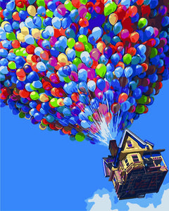 DIY Painting By Numbers - Colorful Balloon in Sky