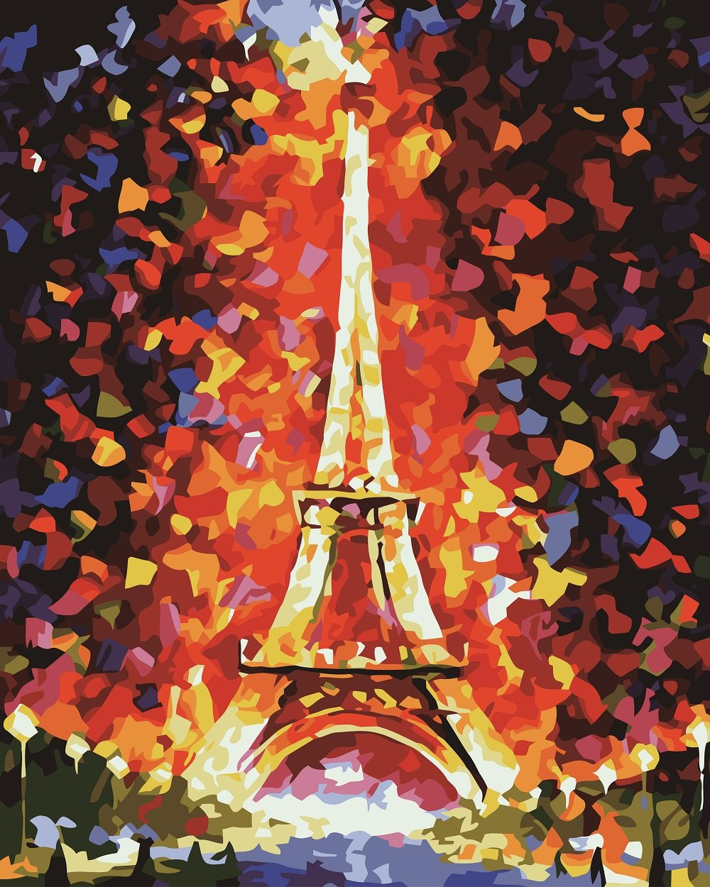 DIY Painting by Numbers -Flaming Eiffel Tower