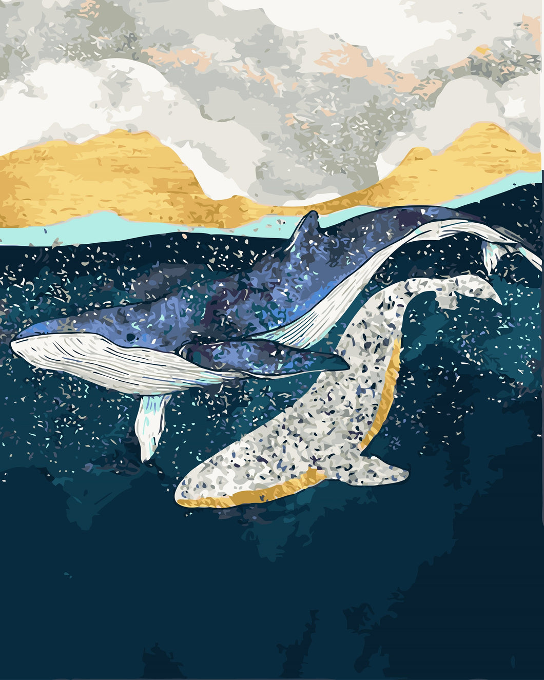 DIY Painting By Numbers - Whales' Play