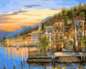 DIY Painting By Numbers - Small Town Near River in Sunset