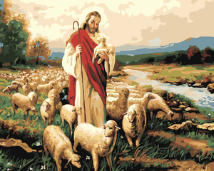 DIY Painting by Numbers -Jesus Good Shepherd