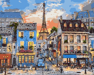 DIY Painting By Numbers - Eiffel Tower and House