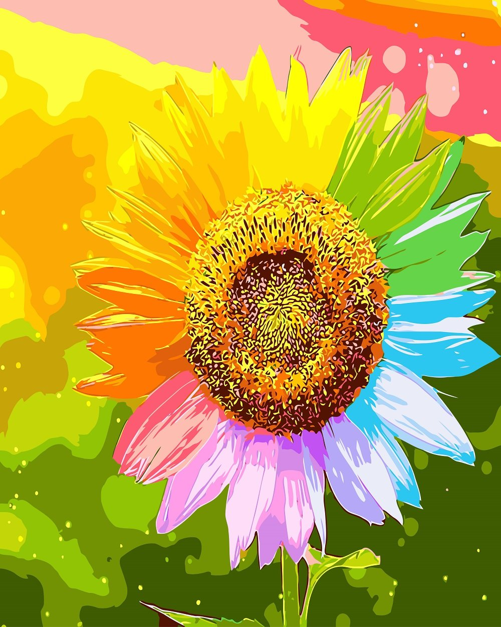 DIY Painting By Numbers -Colorful Sunflower