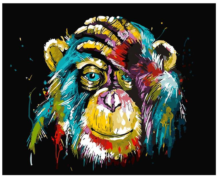DIY Painting By Numbers - Colorful Gorilla