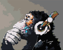 Load image into Gallery viewer, Paint by Numbers -Gorilla Wearing Headphones