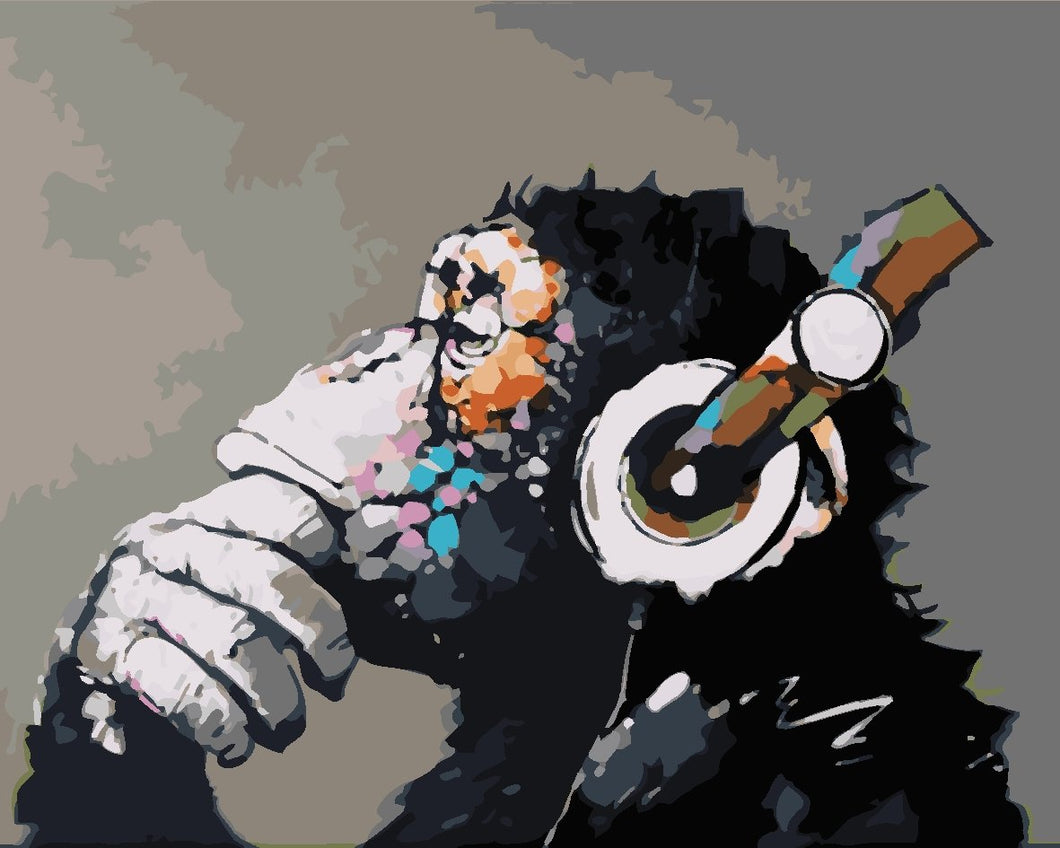 Paint by Numbers -Gorilla Wearing Headphones
