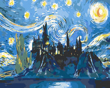 Load image into Gallery viewer, DIY Paint by Numbers Kits - Abstract Castle under the Stars