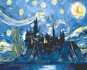 DIY Paint by Numbers Kits - Abstract Castle under the Stars