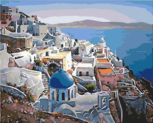 DIY Paint by Numbers - Mediterranean Scenery