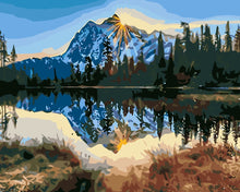 Load image into Gallery viewer, DIY Paint by Numbers - Snow Mountain Reflection