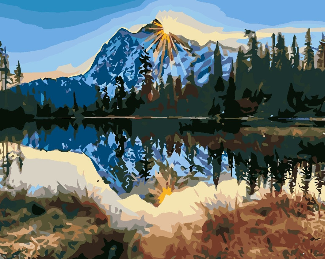 DIY Paint by Numbers - Snow Mountain Reflection
