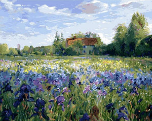 DIY Paint by Numbers - Idyllic Scenery Purple Flowers