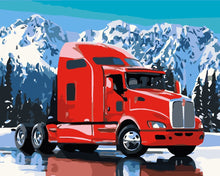 Load image into Gallery viewer, DIY Paint by Numbers Kit - Red Truck Snow Mountain