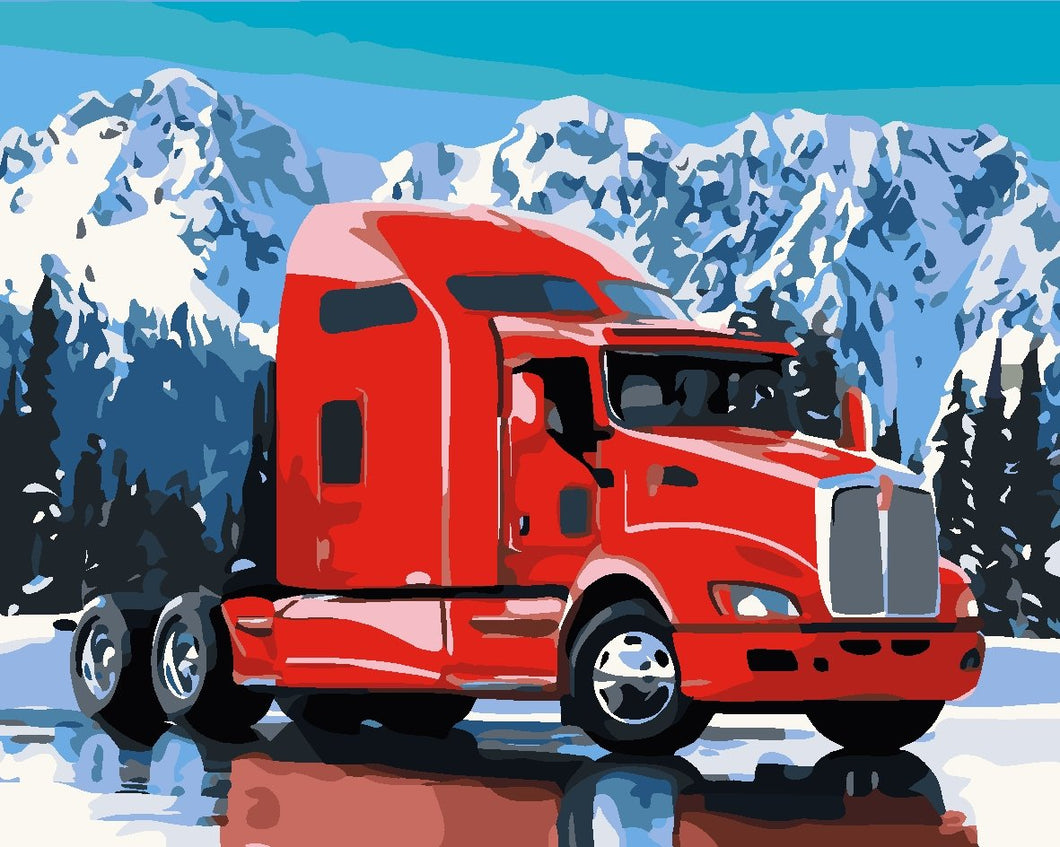 DIY Paint by Numbers Kit - Red Truck Snow Mountain