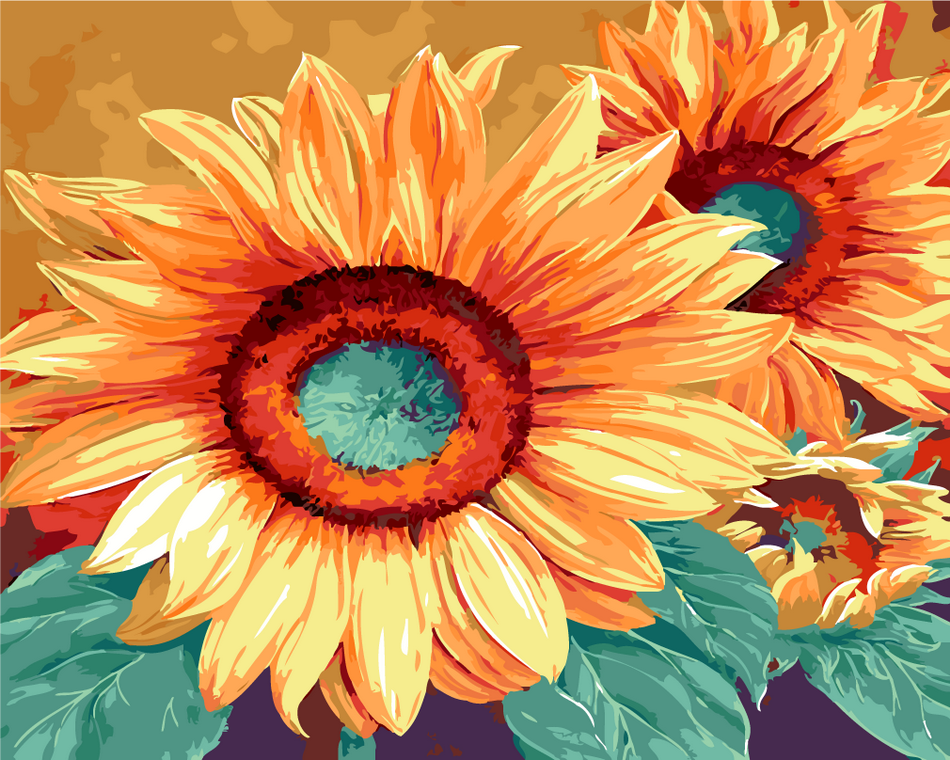 Paint by Numbers Set- Blooming Sunflowers