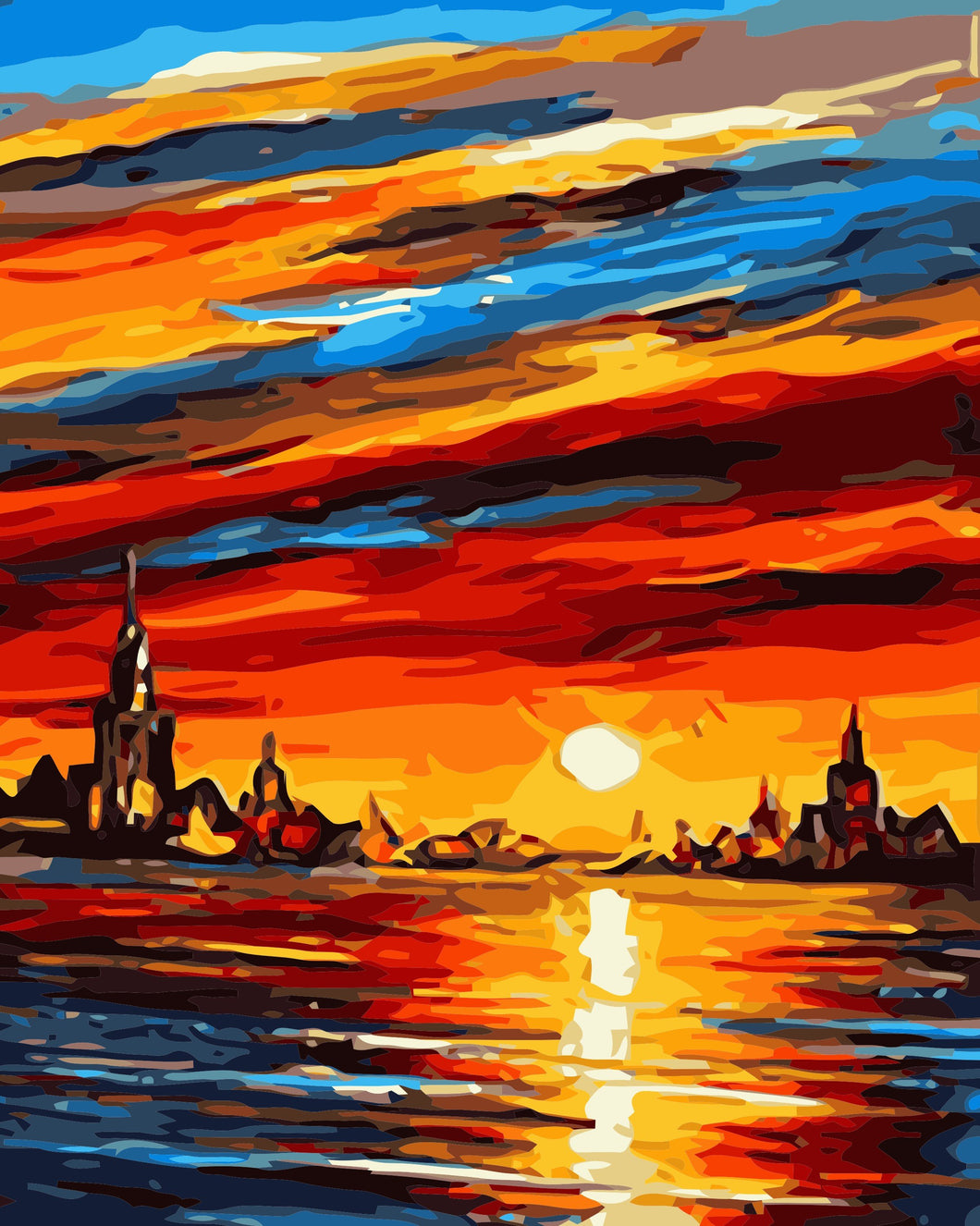 Paint by Numbers Set- Sunset Clouds and Castle
