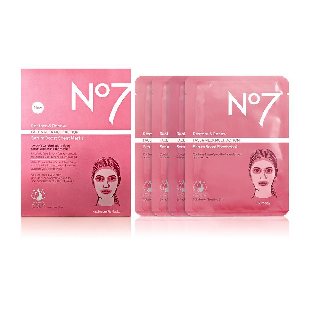 No7 Restore & Renew Face & Neck MULTI ACTION Serum Boost Sheet Masks