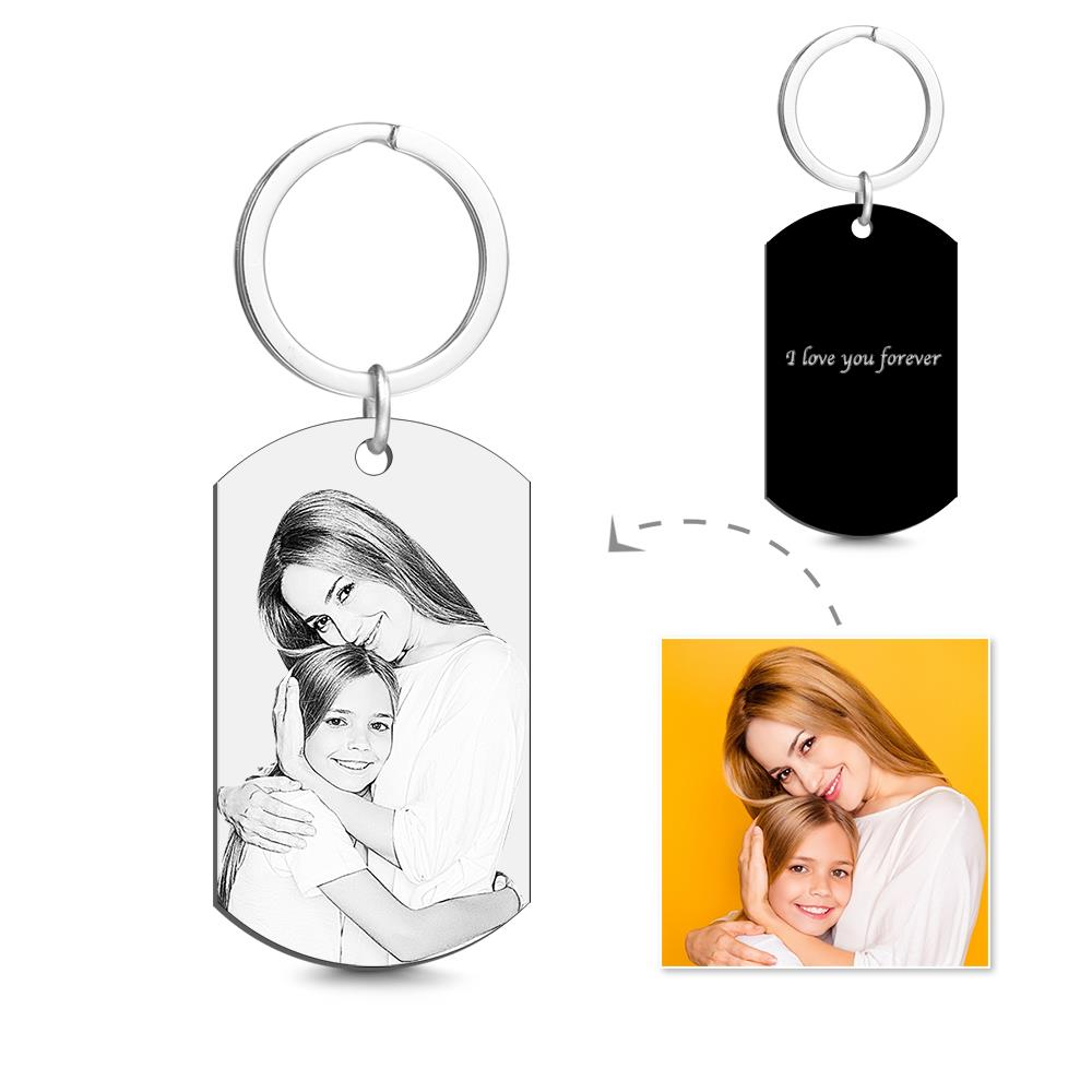Personalized Couple Photo Stainless Steel Keychain