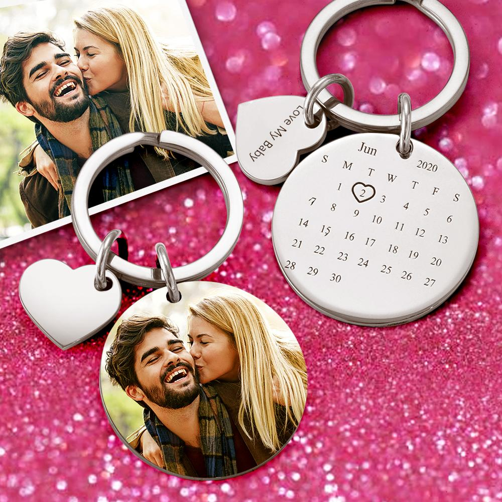 Custom Photo Keychain  personalised Engraved Calendar Keychain