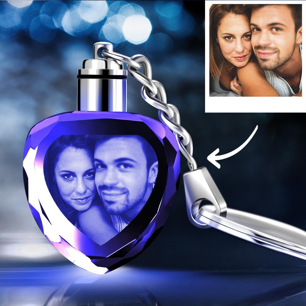 Custom Crystal Heart Shape Couple Photo Key Chain Sweet