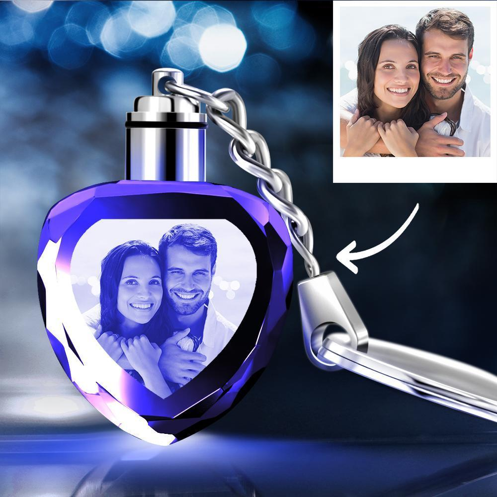 Custom Crystal Heart Shape Couple Photo Key Chain Happiness