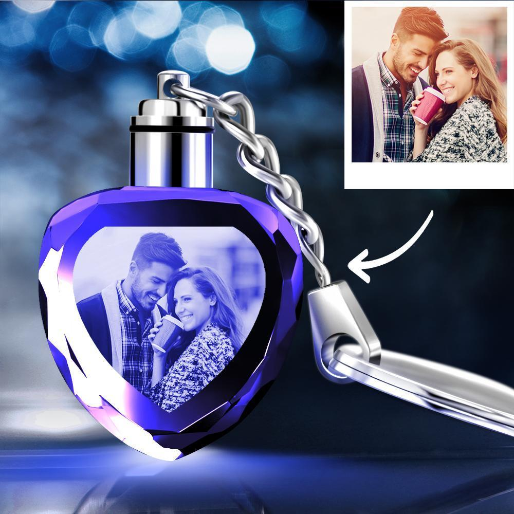 Custom Photo Key Chain Crystal Heart Shape Couple Luminous Keychain