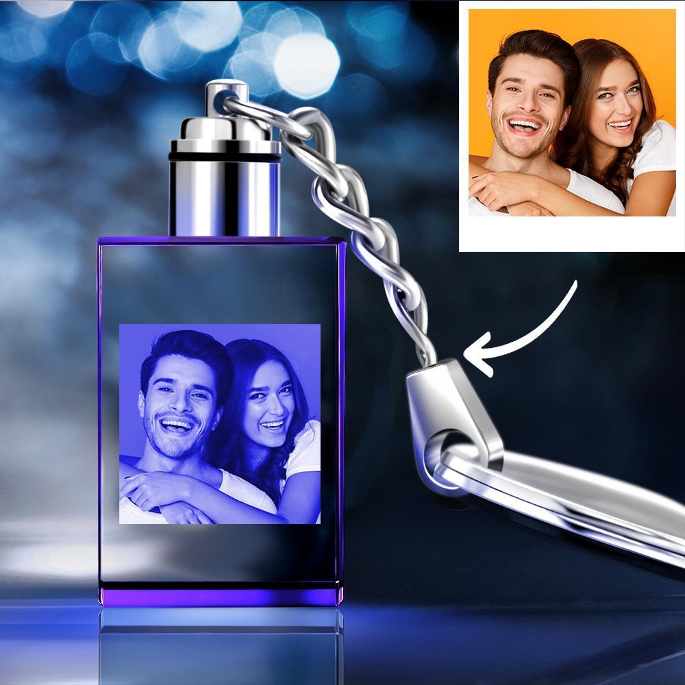 Custom Crystal Rectangle Shape Couple Photo Key Chain Sweet