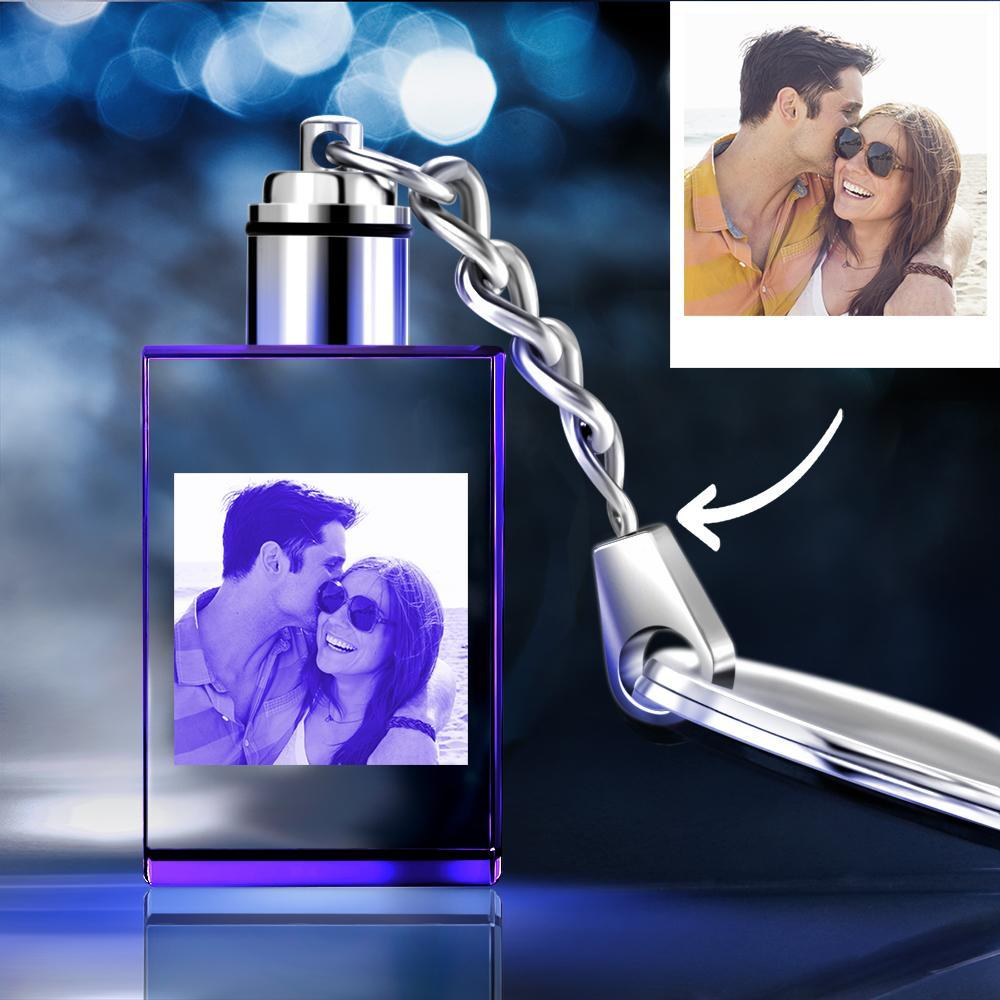 Custom Crystal Rectangle Shape Couple Photo Key Chain