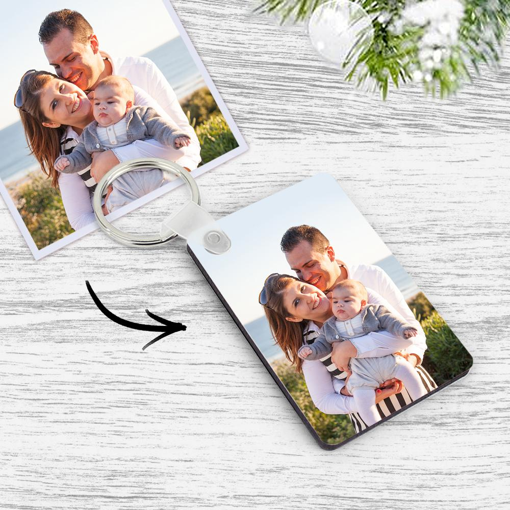 Custom Square Family Photo Keychain Memorial Gift Decorations