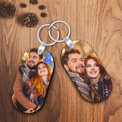 Personalized Oval Shape Customized Photo Keychain
