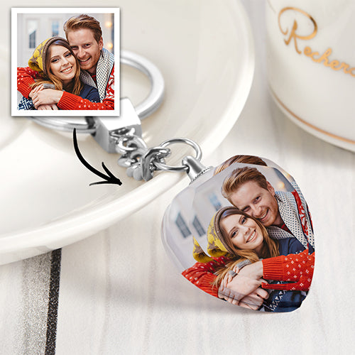 Custom Photo Keychain Crystal Heart