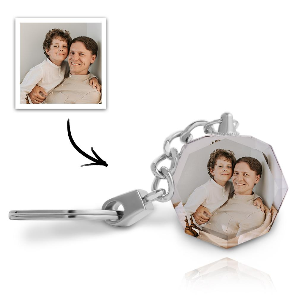 Anniversary Gift Custom Photo Keychain Crystal Round