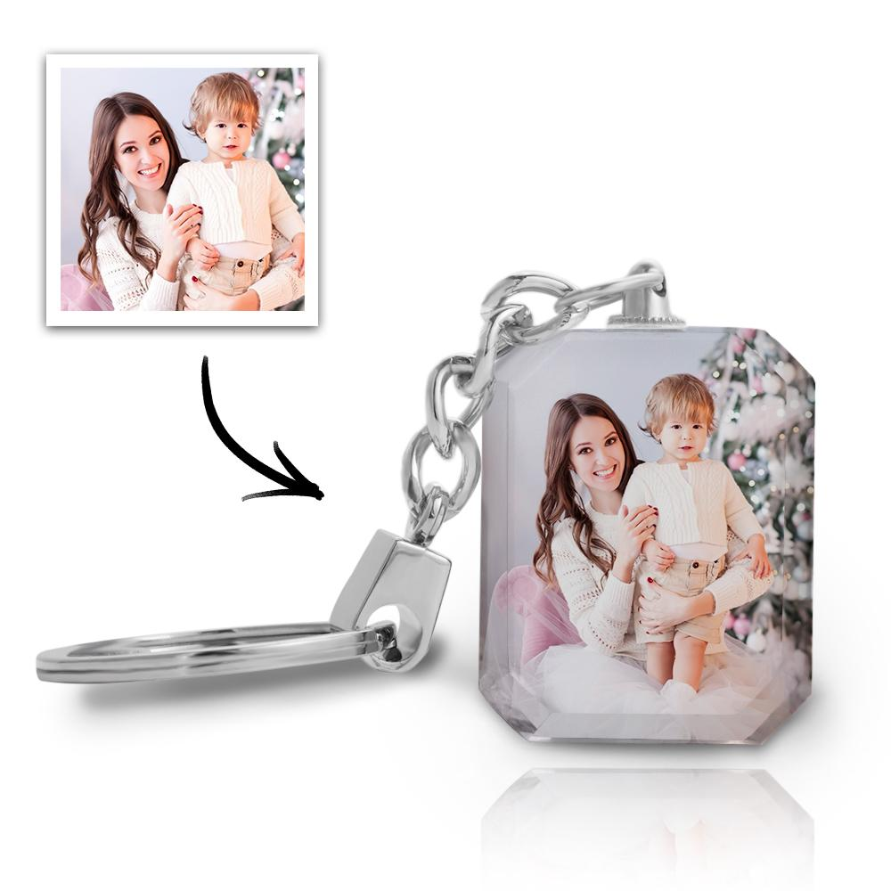 Gift for Mom Custom Photo Keychain Crystal Rectangle
