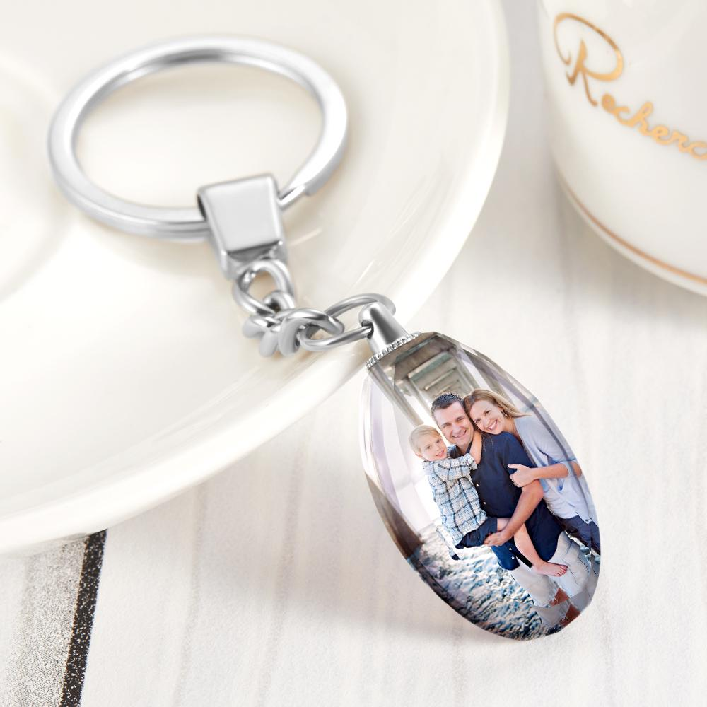 Gift for Her Custom Photo Keychain Crystal Ellipse
