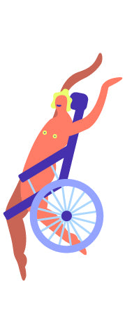 An illustration of a person in a wheelchair with their arms in the air, celebrating