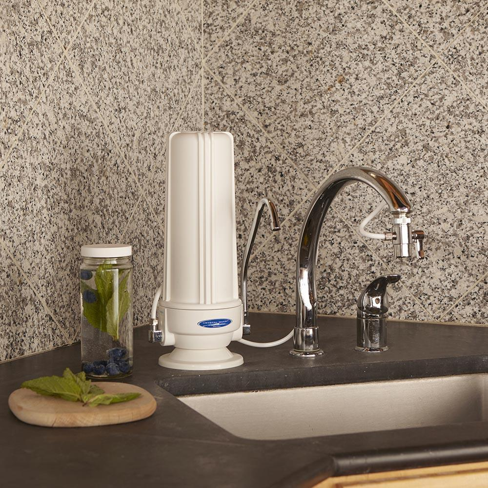 Crystal Quest® Alkaline Water Filter System | SMART Countertop Single Cartridge-White- CQE-CT-00177