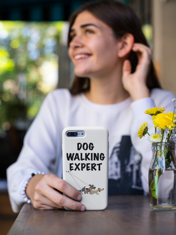 """""""DOG WALKING EXPERT"""" PHONE CASE Are you always walking your dog? We know you are! Claim yourself as a dog walking expert with our dog phone cover designed for dog owners. Perfect as a gift or as a treat for yourself. Pet phone cover. Phone cover for pet owner. Phone protector. Iphone dog cover.Phone case of dog walking"""