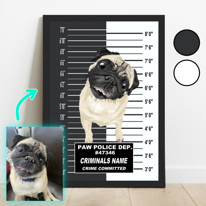 Pet mug shot framed poster / portrait. Turn your pet into a criminal with our funny pet in prison / jail portrait. Custom pet portraits created from a photo of your pet. Professional artists draw your beautiful pet. Custom pet portrait. Dog in prison / jail portrait. Pet in jail portrait. Funny pet owner gift present.