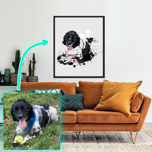 Personalised pet portrait. Custom dog portrait. Perfect gift for dog owners / pet owners. Framed pet portrait